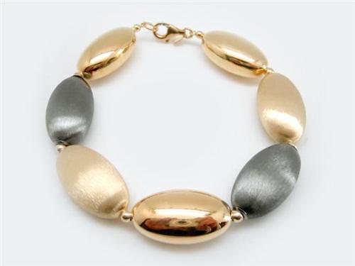 fcbbea46a671 Pulsera Mujer plata chapada oro con rodio negro.