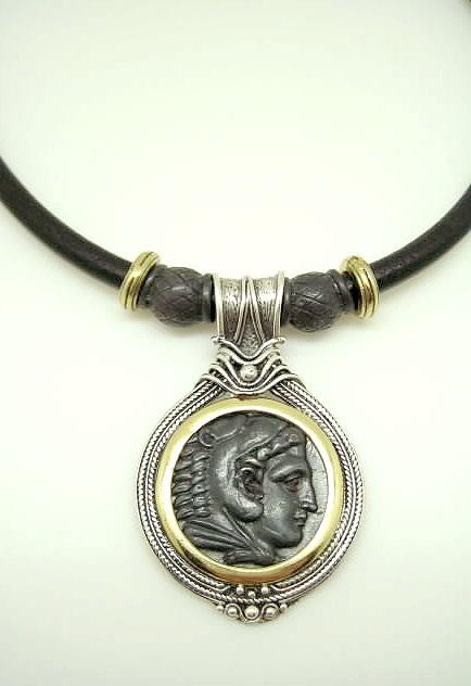 diferentemente compra genuina navegar por las últimas colecciones Collar Mujer plata moneda con cuero y entrepiezas.