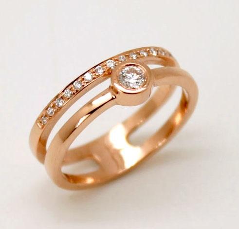 5b65ca0c Anillo de compromiso oro rosa 18 K mujer brillantes