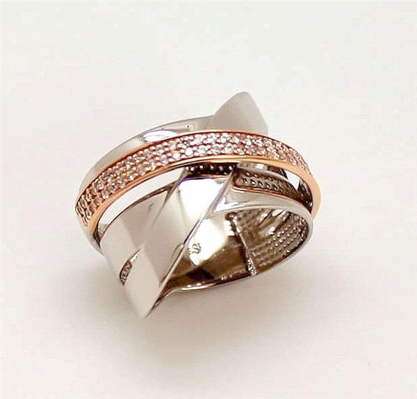 3e574f8b42cc Comprar online Anillo mujer oro blanco y rosa con pavés de circonita ...