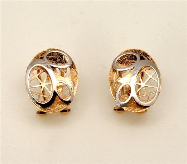 venta minorista aaa29 7edda Pendientes oro 18 K mujer oval bicolor láser. Cierre Omega.