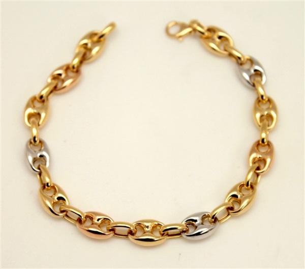 be5ec86ad063 Comprar online Pulsera mujer oro 18 K calabrote tricolor maciza. sin ...