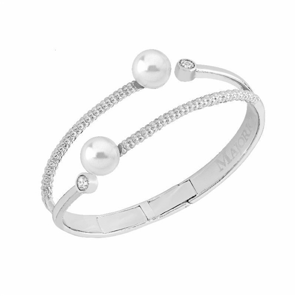 638f55965251 Pulsera mujer perlas Majórica acero rigida con circonitas. - PRECIOS ...