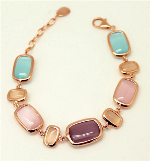 b59b7176af19 Pulsera Mujer plata 1ª Ley Rosa piedras luna color. de calidad y ...
