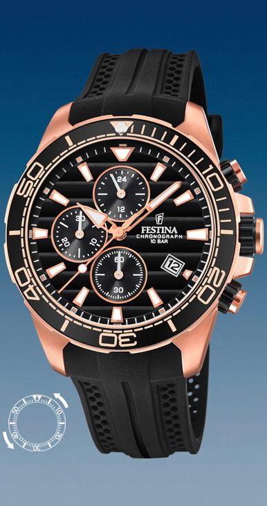 Comprar online Reloj Festina hombre caja acero rosa correa Pu negra ... 9dac733f8bc8