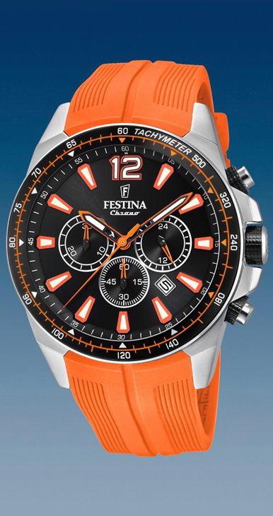 94172691f61b Comprar online Reloj Festina hombre cronómetro correa PU naranja ...